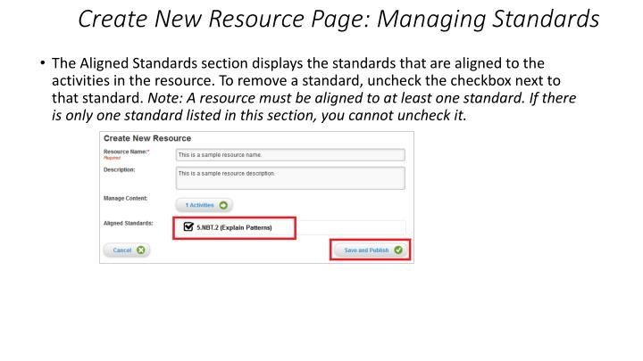 Create New Resource Page: Managing Standards