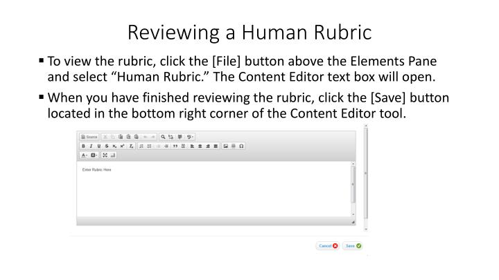 Reviewing a Human Rubric