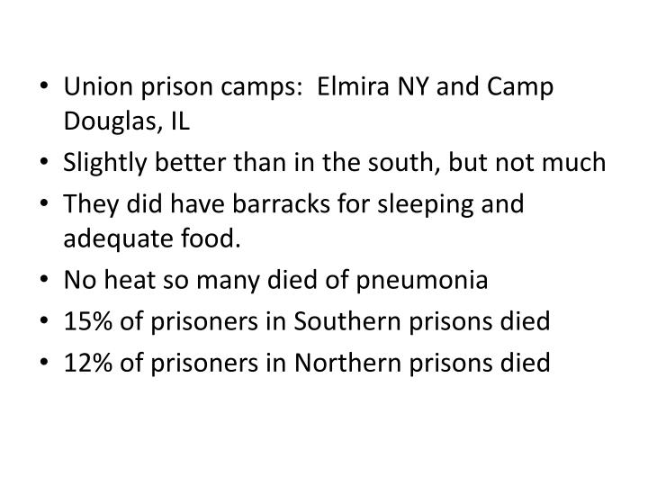 Union prison camps:  Elmira NY and Camp Douglas, IL