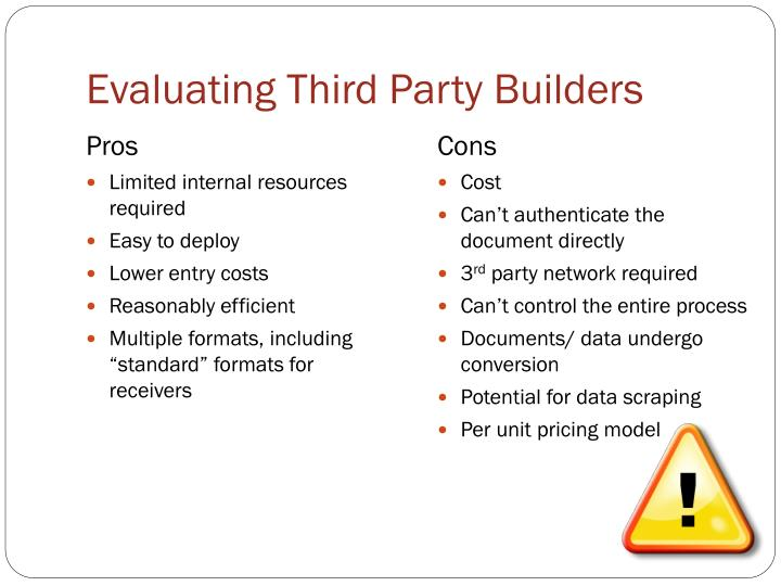 Evaluating Third Party Builders
