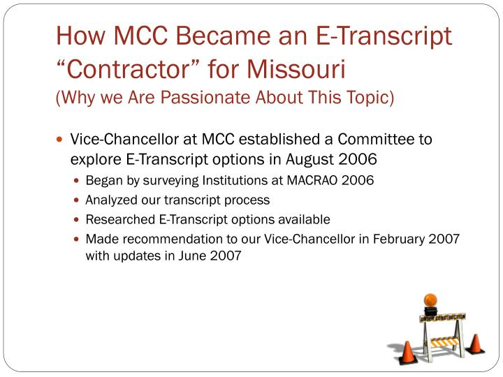 "How MCC Became an E-Transcript ""Contractor"" for Missouri"