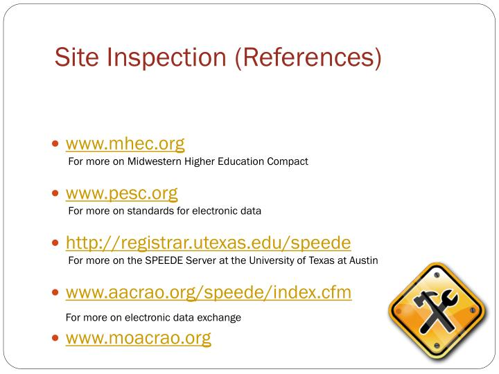 Site Inspection (References)