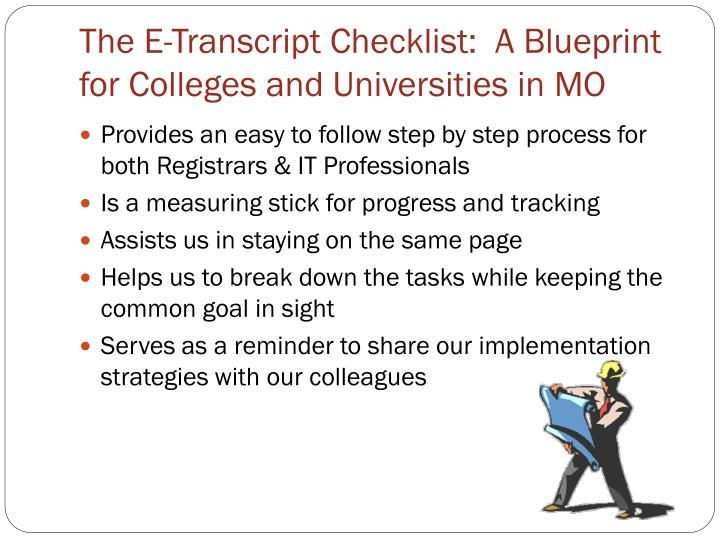 The E-Transcript Checklist:  A Blueprint for Colleges and Universities in MO