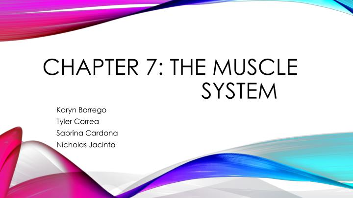 Chapter 7: The Muscle      system