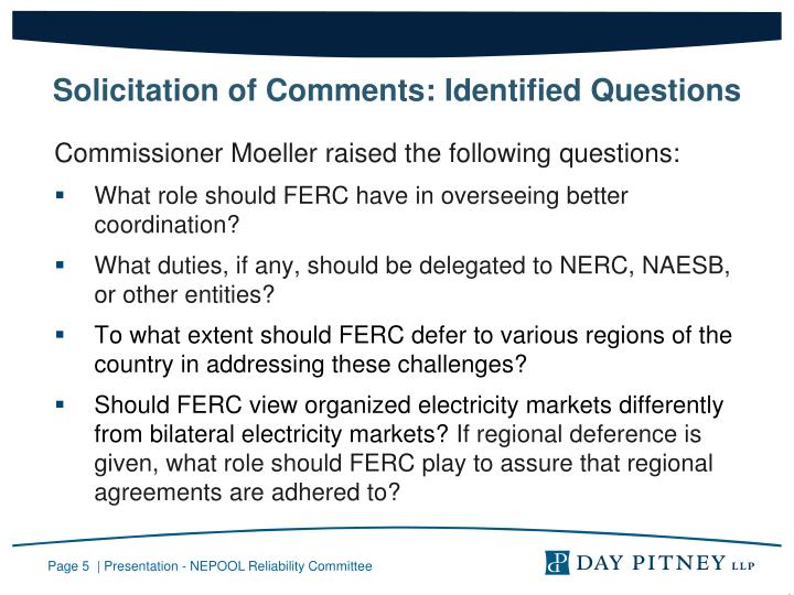 Solicitation of Comments: Identified Questions