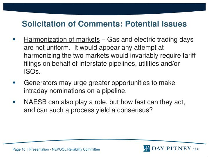 Solicitation of Comments: Potential Issues