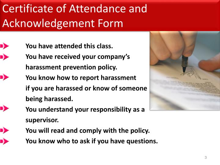 Certificate of attendance and acknowledgement form