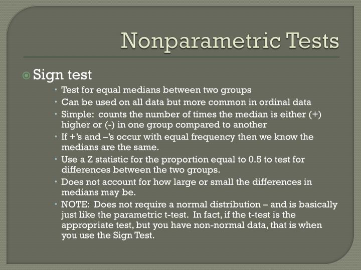 Nonparametric Tests