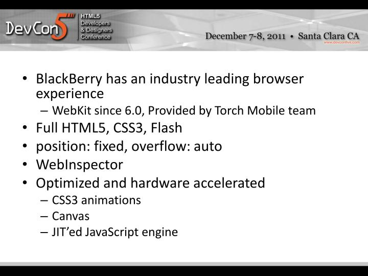 BlackBerry has an industry leading browser experience