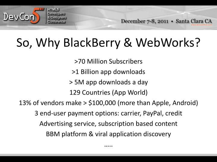 So, Why BlackBerry & WebWorks?