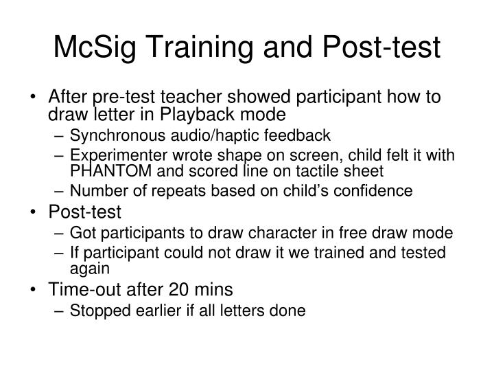 McSig Training and Post-test