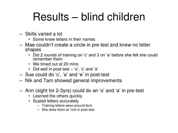 Results – blind children