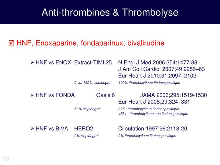 Anti-thrombines & Thrombolyse
