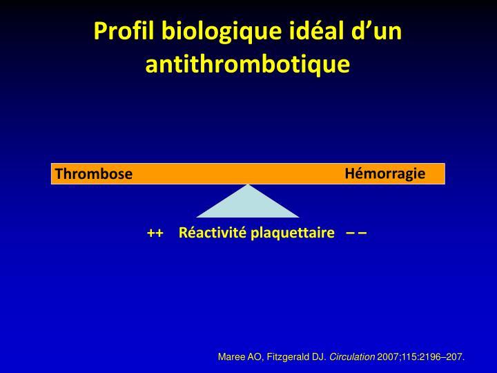 Profil biologique idéal d'un antithrombotique