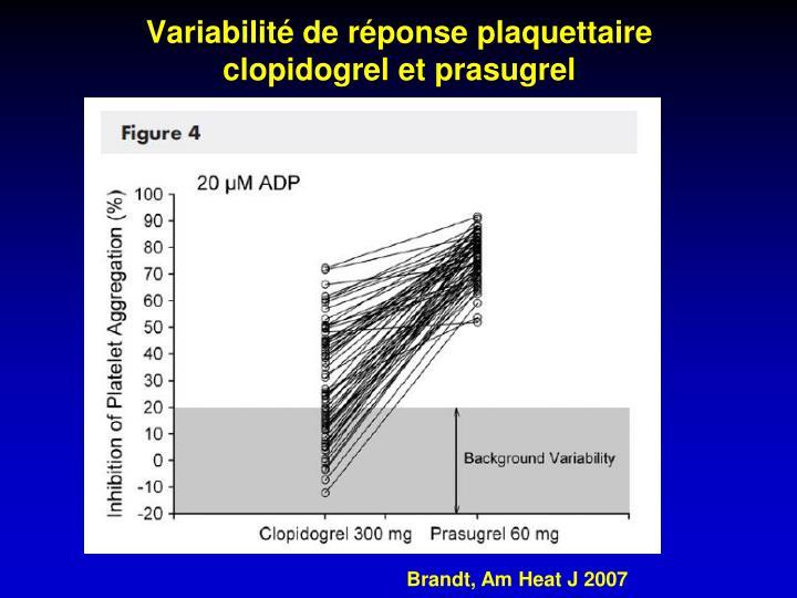Variabilité de réponse plaquettaire