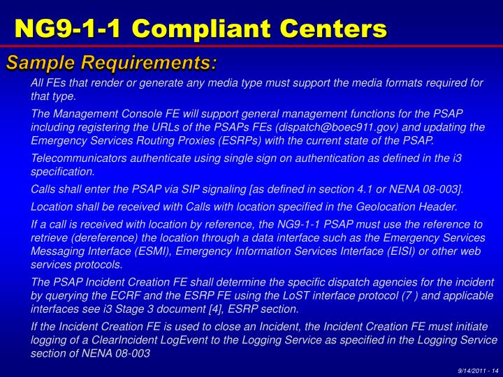NG9-1-1 Compliant Centers