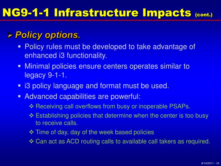 NG9-1-1 Infrastructure Impacts