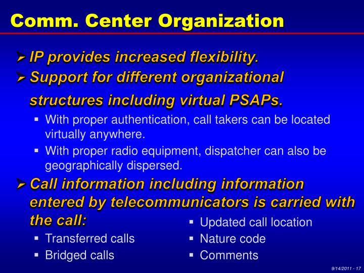 Comm. Center Organization