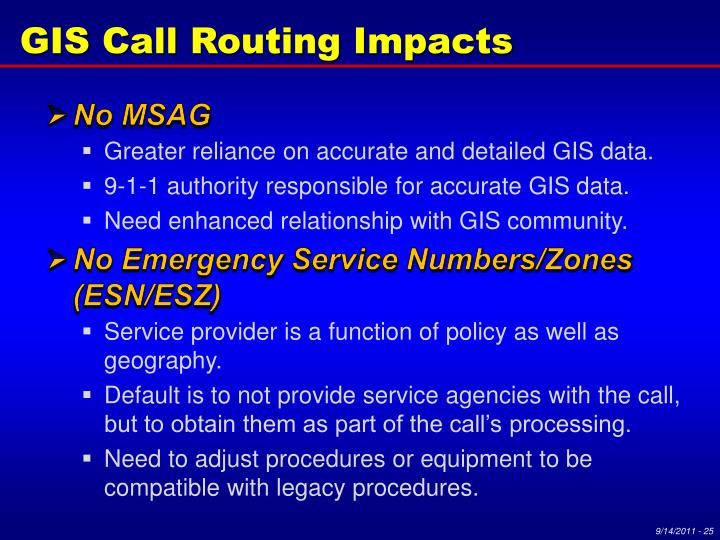 GIS Call Routing Impacts