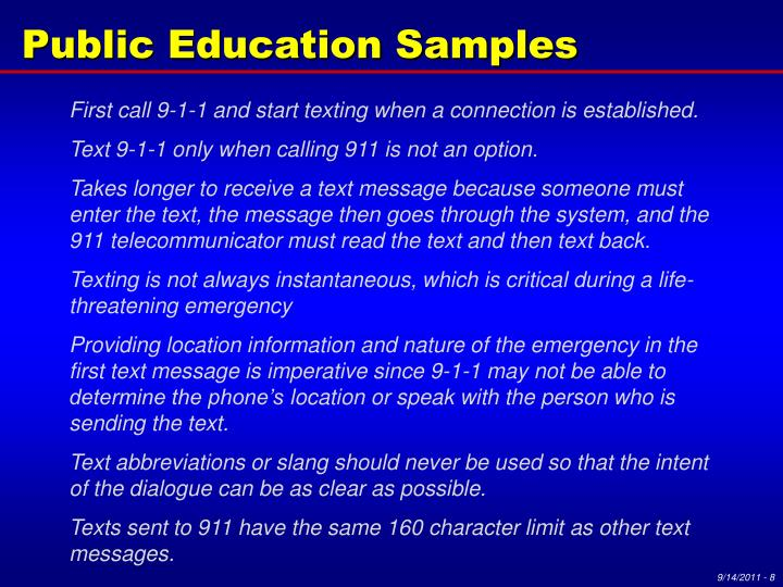 Public Education Samples
