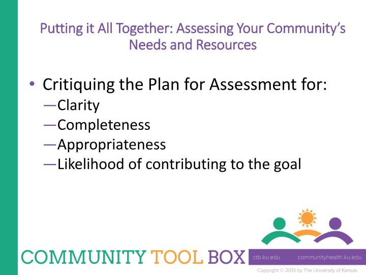 Putting it All Together: Assessing Your Community's Needs and Resources