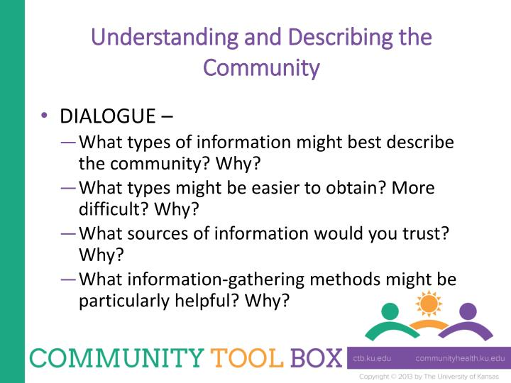 Understanding and Describing the Community
