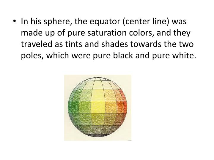 In his sphere, the equator (center line) was made up of pure saturation colors, and they traveled as tints and shades towards the two poles, which were pure black and pure white.