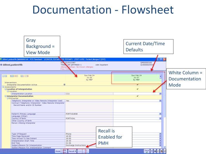 Documentation - Flowsheet
