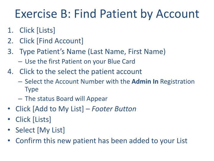 Exercise B: Find Patient by Account