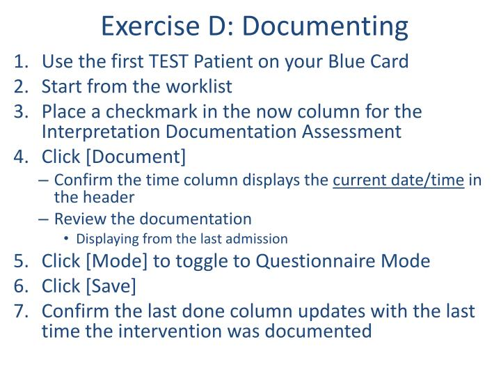 Exercise D: Documenting