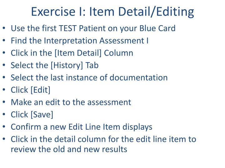 Exercise I: Item Detail/Editing