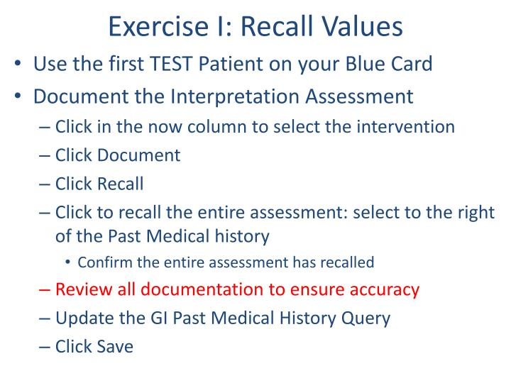 Exercise I: Recall Values