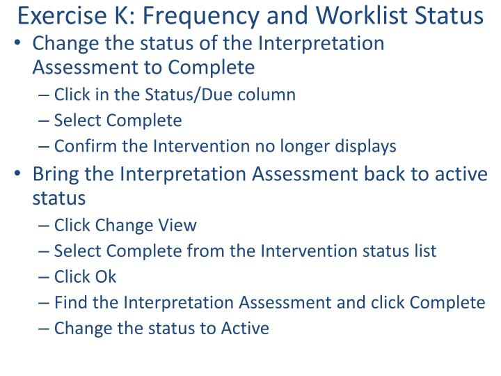 Exercise K: Frequency and