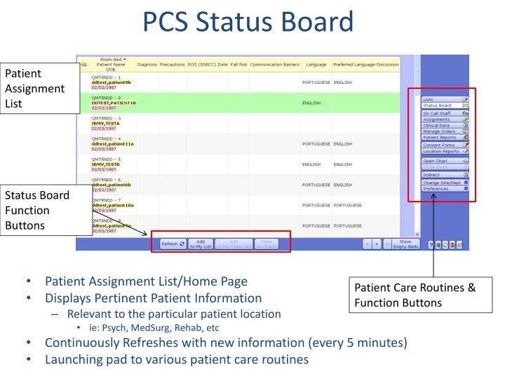 PCS Status Board