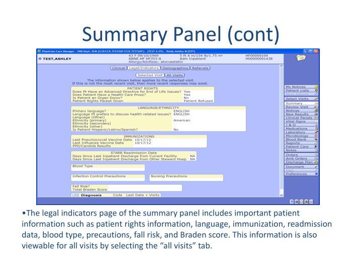 Summary Panel (cont)
