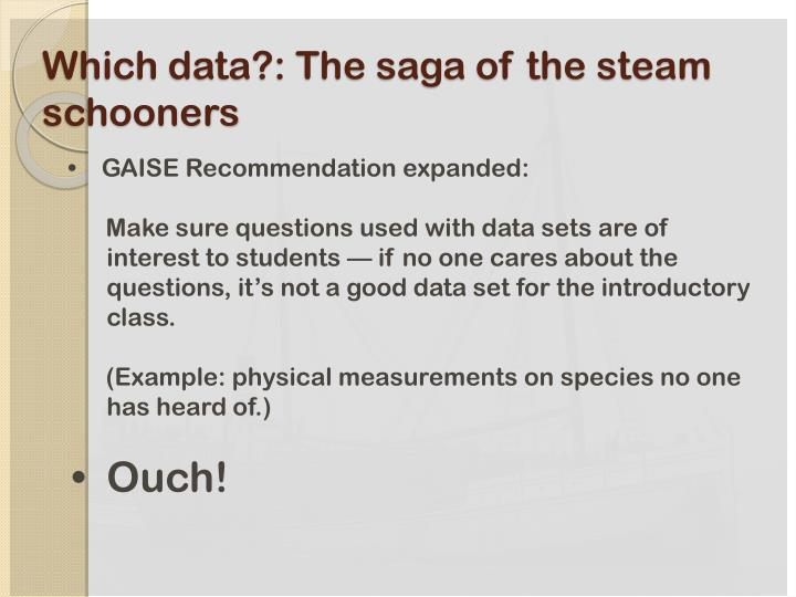 Which data?: The saga of the steam schooners