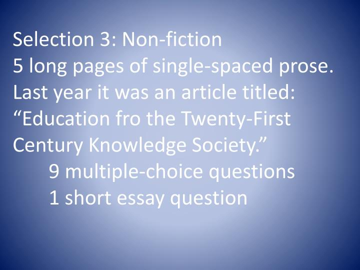 Selection 3: Non-fiction