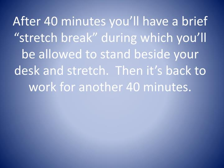 "After 40 minutes you'll have a brief ""stretch break"" during which you'll be allowed to stand beside your desk and stretch.  Then it's back to"