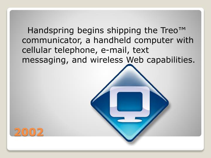 Handspring begins shipping the Treo™ communicator, a handheld computer with cellular telephone, e-mail, text messaging, and wireless Web capabilities.