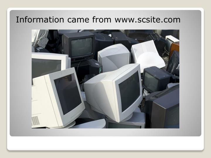Information came from www.scsite.com