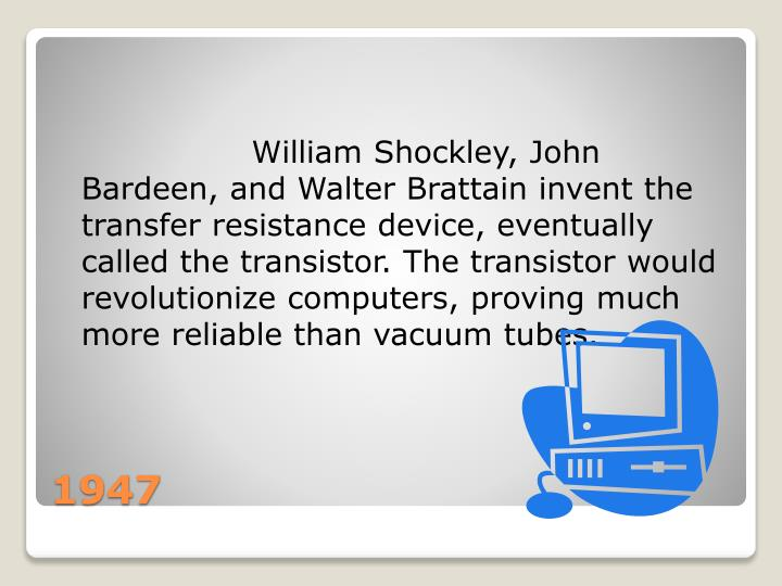 William Shockley, John Bardeen, and Walter Brattain invent the transfer resistance...
