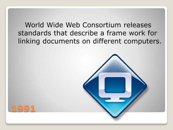 World Wide Web Consortium releases standards that describe a frame work for linking documents on different computers.