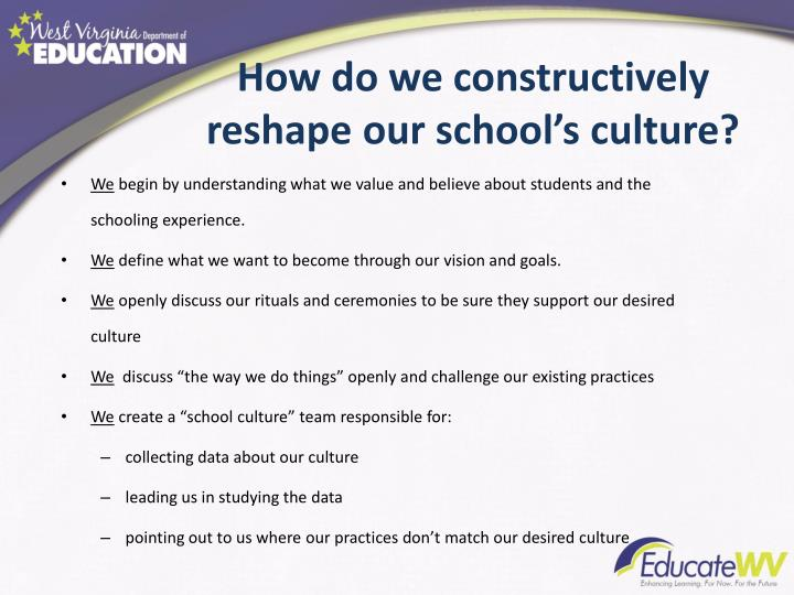 How do we constructively reshape our school's culture?