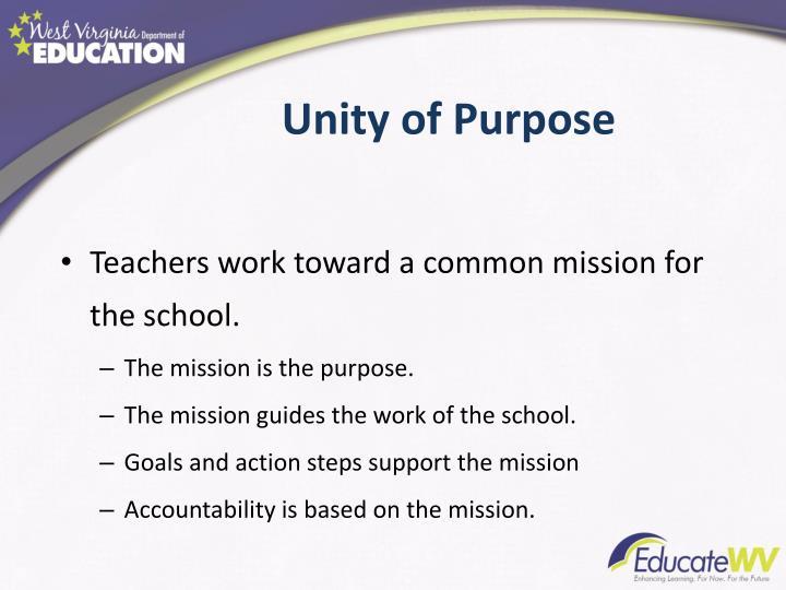 Unity of Purpose