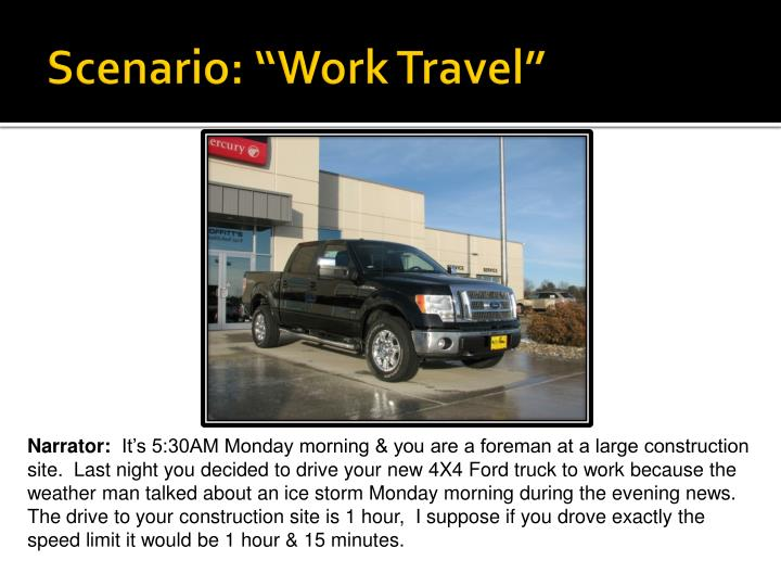 "Scenario: ""Work Travel"""