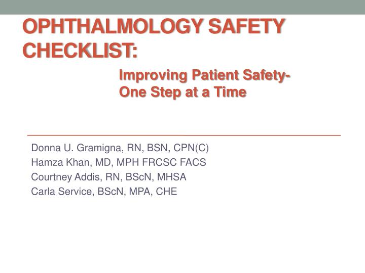 Ophthalmology safety checklist