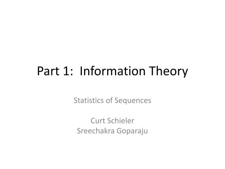 Part 1 information theory