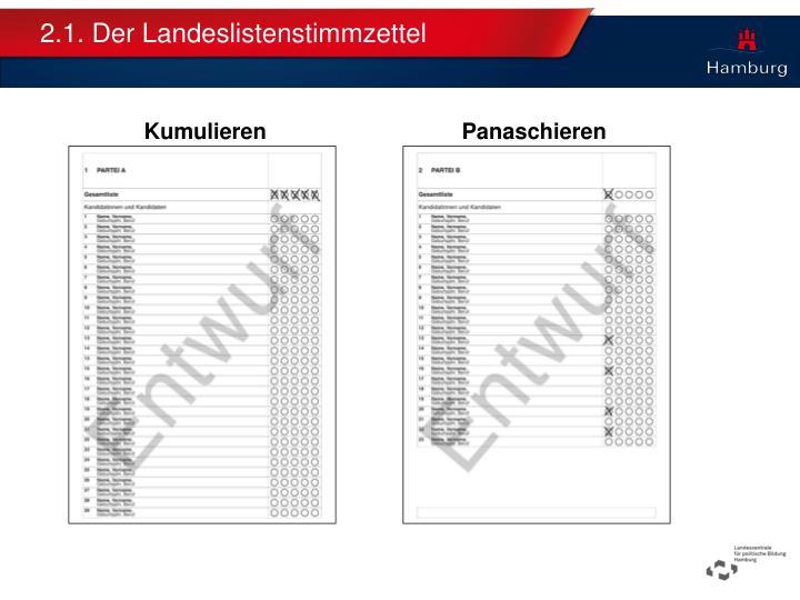2.1. Der Landeslistenstimmzettel