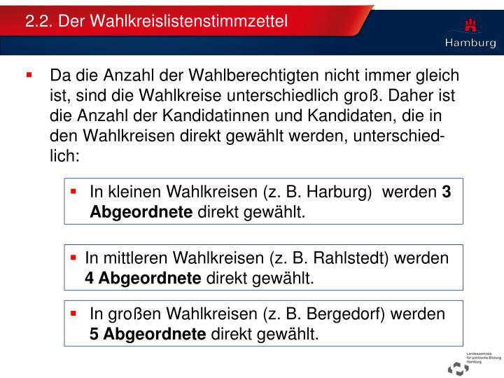 2.2. Der Wahlkreislistenstimmzettel