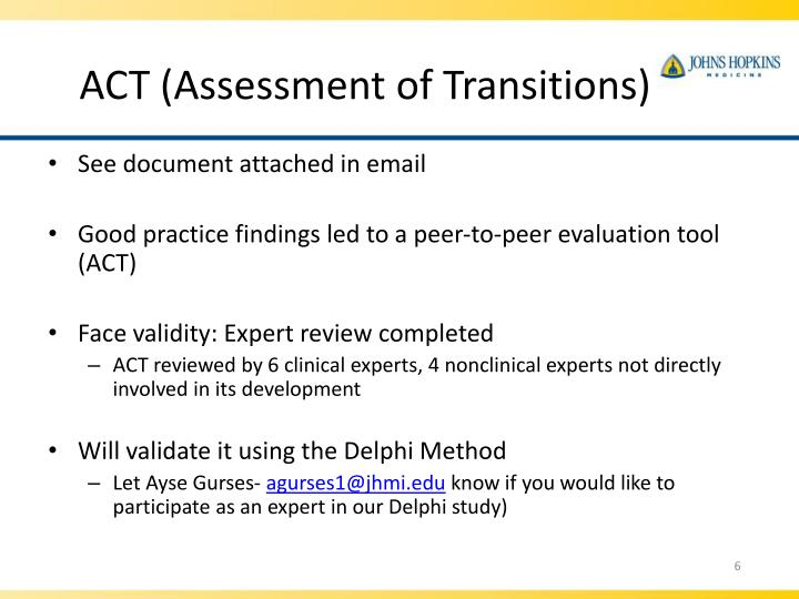 ACT (Assessment of Transitions)